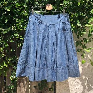 Zara box pleat denim mini skirt
